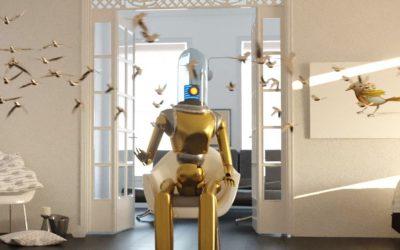 Voll der Roboter mit Vögel